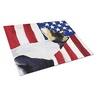 Carolineøerne skatte SS4041LCB USA amerikanske Flag med Basenji glas skære vildsvin