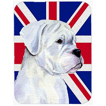 Boxer with English Union Jack British Flag Glass Cutting Board Large Size
