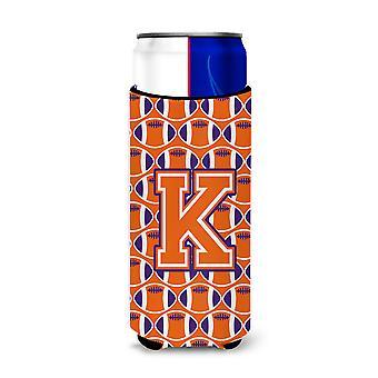 Letter K Football Orange, White and Regalia Ultra Beverage Insulators for slim c