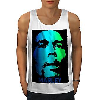 Bob Marley hommes sérieux WhiteTank Top | Wellcoda