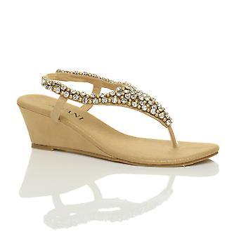 Ajvani naisten puolivälissä kiila kantapää slingback helmillä diamante jewelled t-bar toe lähettää sandaalit