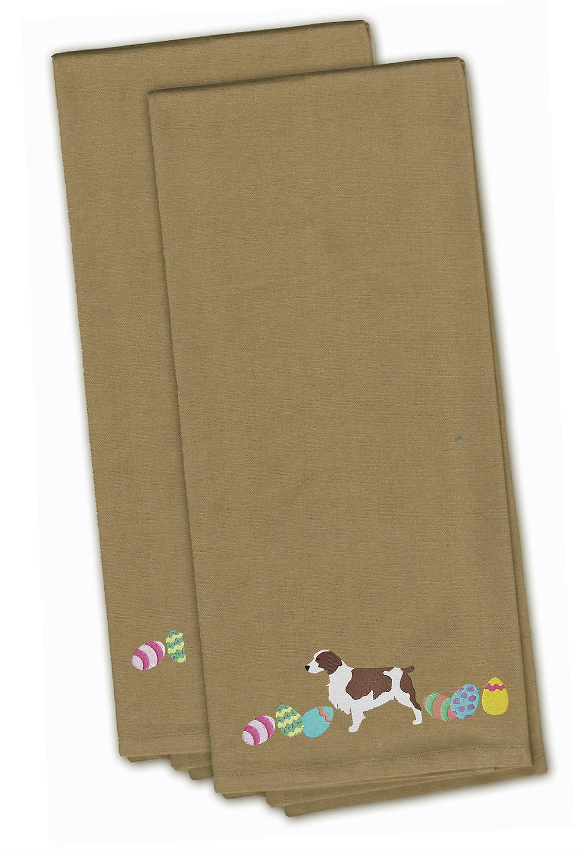 Welsh Springer Spaniel Pasen Tan geborduurd keuken handdoek Set van 2
