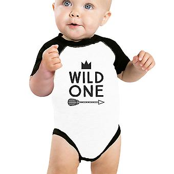 Wilde een Feather Baby Raglan Shirt grafische Baby honkbal Romper