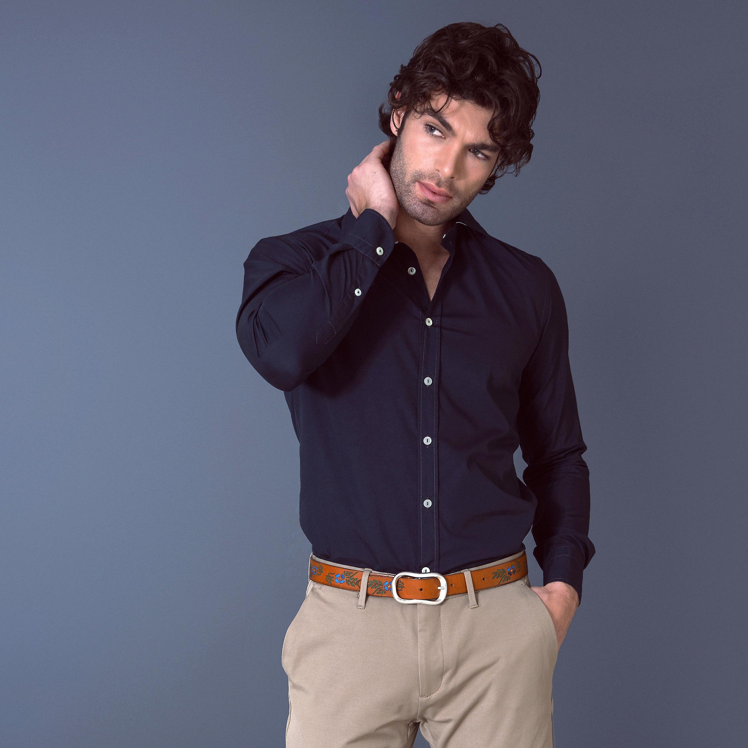 Fabio Giovanni Trapani Shirt - Mens High Quality Silky Black Cotton Poplin Shirt