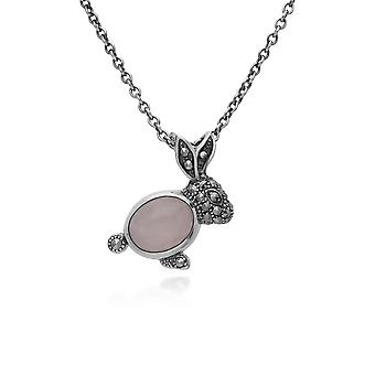 Classic Oval Rose Quartz & Marcasite Rabbit Necklace in 925 Sterling Silver 214N701901925