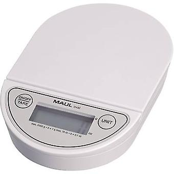 Maul MAULoval Letter scales Weight range 2 kg Readability 1 g battery-powered White