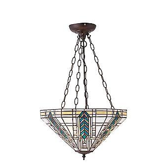 Interiör 1900 Lloyd 3 ljus Tiffany stil inverterad tak hänge