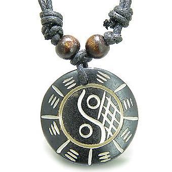 Amulet Tiibetin Yin Yang BA GUA perustasapaino valtuudet luonnollinen luun Magic riipus kaulakoru