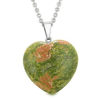 Coeur gonflé Lucky Charm Crystal Unakite spirituel Protection pouvoirs amulette pendentif 18 pouces