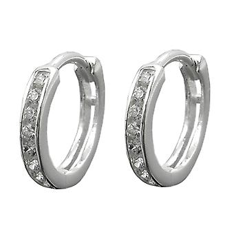 Elegant Creole Creole white silver with cubic zirconia earrings 925 sterling silver