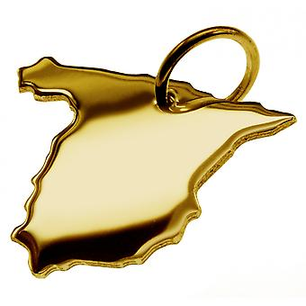 Trailer map Spain pendants in massive 585 gold