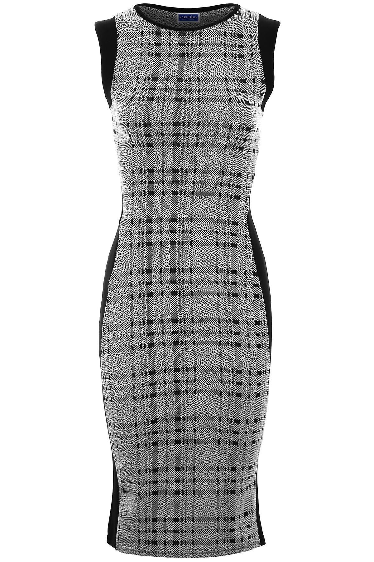 Ladies Sleeveless Stripe Zebra Check Tartan Knee Length Midi Bodycon Dress