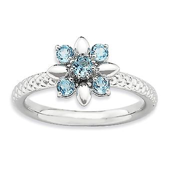2.5mm 925 Sterling Silver Polished Prong set Rhodium plated Stackable Expressions Blue Topaz Ring Jewelry Gifts for Wome