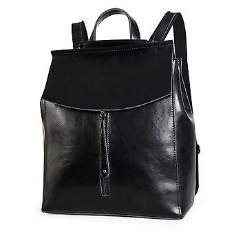 Black backpack in genuine cow leather, K3206S