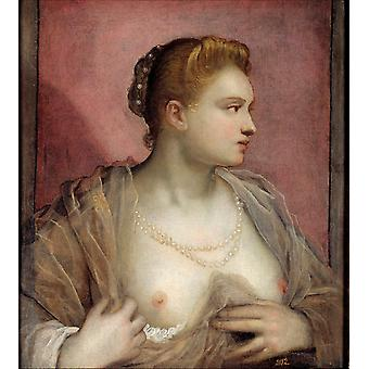 Portrait of a Woman Revealing her Breasts,Tintoretto,60x50cm