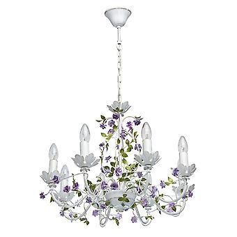 Glasberg - Lampadario in otto bianco con dettagli in oro e fiori viola 421014308