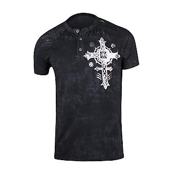 Affliction Mens Stand Alone Short Sleeve Henley Shirt - Black