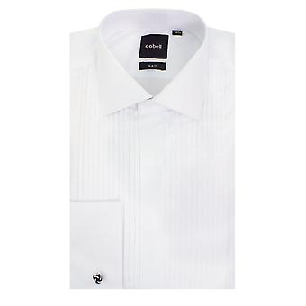 Dobell Mens White Dress Shirt Slim Fit Standard Collar Double Cuff Pleated Fly Front