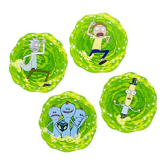 Rick and Morty coasters set 3D Rick and Morty coated set of 4, printed, Cork.