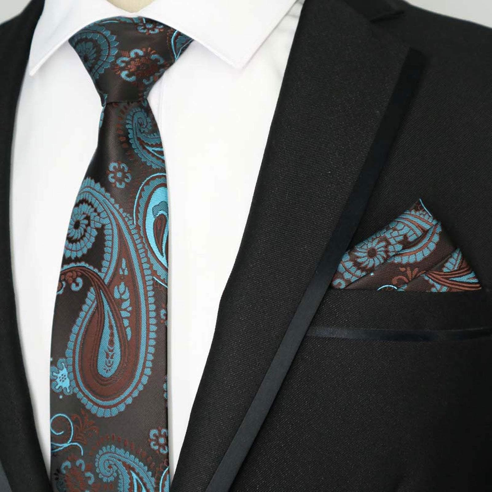 Turquoise aubergine purple paisley tie & pocket square