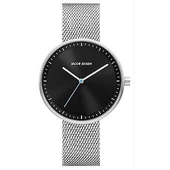 Jacob Jensen Strata Series Watch-prata/preto