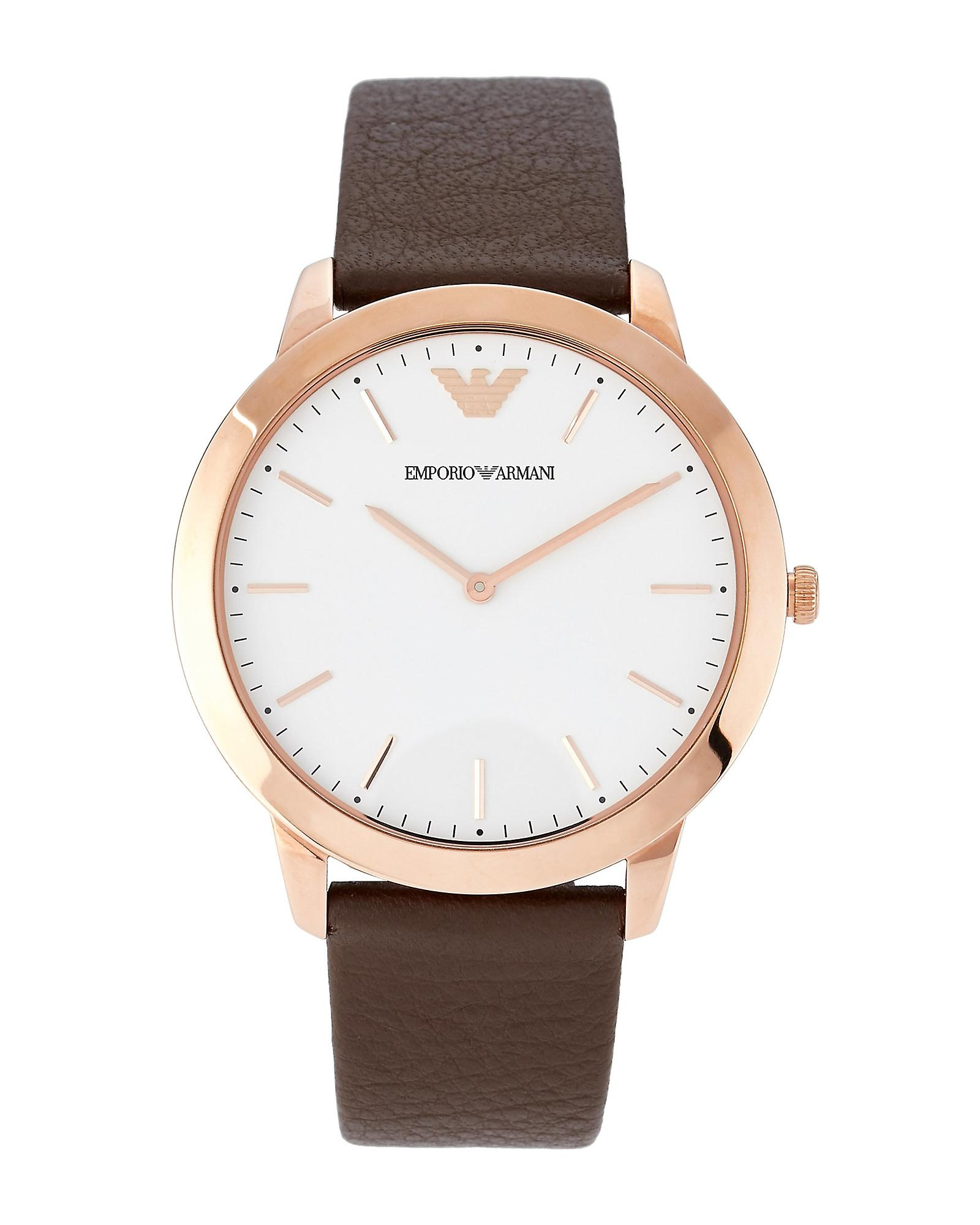 Emporio Armani Ar2487 Classic Rose Gold Brown Leather Men's Watch