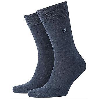 Burlington Leeds sokker-mørk blå melange