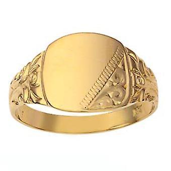 9 قيراط الذهب 12x12mm اليد للرجال وسادة محفورة الخاتم الدائري الحجم Z