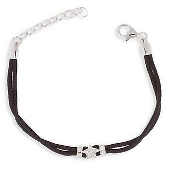 Black Cotton Bracelet With Silver Cubic Zirconia 14cm - 3cm
