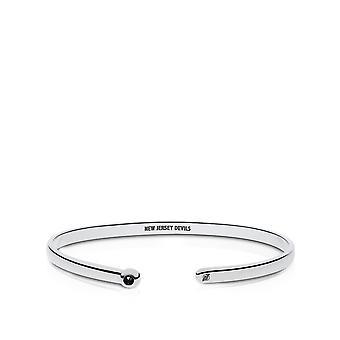 New Jersey Devils Engraved Sterling Silver Black Onyx Cuff Bracelet