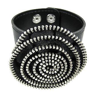 Black Vinyl Spiral Zipper Strip Wristband