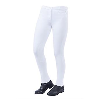 Dublin Supa-fit mujeres Zip Up Knee Parche Jodhpurs - Blanco