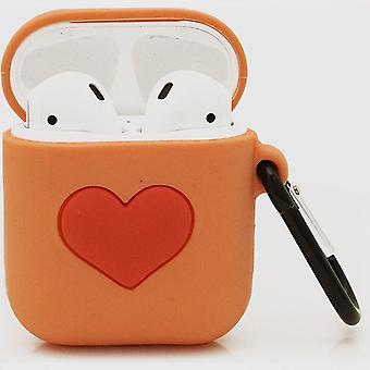 الكرتون Airpods سيليكون حالة حالة حالة لأبل Airpods - أورانج الحب - مع كاربين