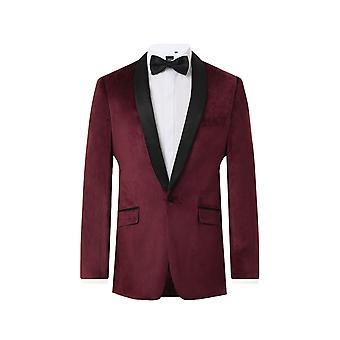 Dobell Mens Burgundy Velvet 2 Piece Tuxedo Slim Fit Contrast Shawl Lapel