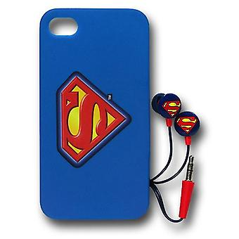 Superman Iphone 4/4S Caso / Earbud Pack