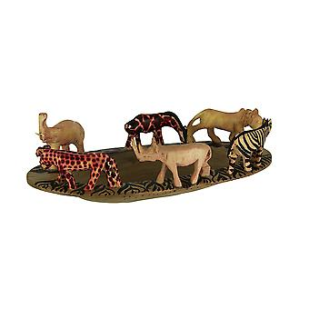 Hand Carved Wooden African Wild Animal Decorative Bowl 11.75 Inches Long
