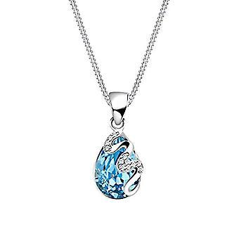 Elli kvinners halskjede i sølv 925 med drop anheng og bølgemønster-blå krystall