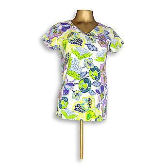Isaac Mizrahi Live! Mulheres ' s Top mosaico floral print verde A253052