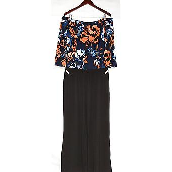 Susan Graver Jumpsuits Liquid Knit with Pockets Floral Black A310118
