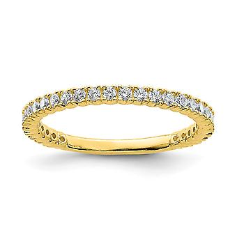 925 Sterling Silver Polished Prong set 14k Gold Plated With CZ Cubic Zirconia Simulated Diamond Ring Jewelry Gifts for W