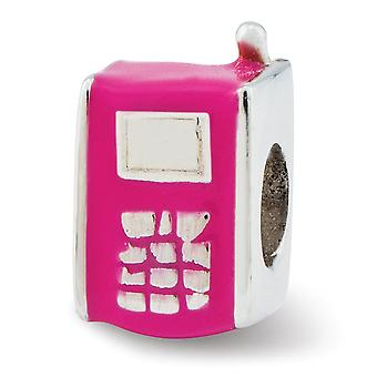 925 Sterling Silver Pink Enamel Reflections Kids Hot Pink Cell Phone Bead Charm