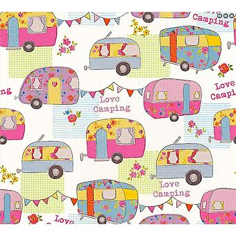 Enfants-apos;s Camper Van Caravan Wallpaper Pink White Bunting Floral AS Création