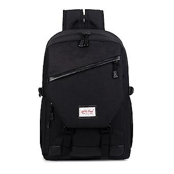 Spacious backpack with faux leather details-black