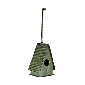 Rustic Galvanized Metal Triangle Roof Hanging Birdhouse