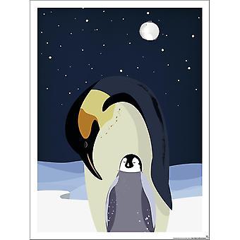 Kinderzimmer Poster Pinguin Mutter mit Kind Polar 30 x 40 cm Kleinformat