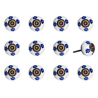 """1.5"""" x 1.5"""" x 1.5"""" White Blue and Turquoise  Knobs 12 Pack"""