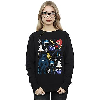Marvel Women's Black Panther And Black Widow Christmas Day Sweatshirt