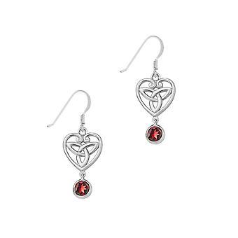 Celtic Holy Trinity Knot Love Heart Shaped Drop Style Pair Of Earrings - A Garnet Stone