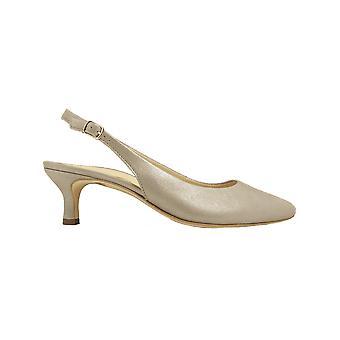 Paul Green 7270-00 Champagne Velvet lederen Womens kitten hak Sling terug schoenen