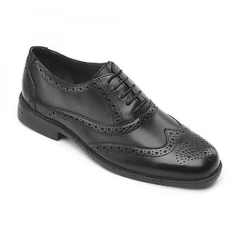Padders Oxford Mens Leather Wide (g Fit) Shoes Black